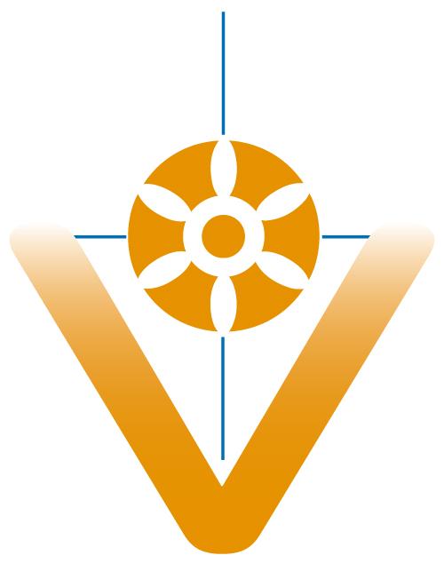 """Ein """"V"""" ganz groß, ein Rad darin gehalten durch ein Kreuz"""