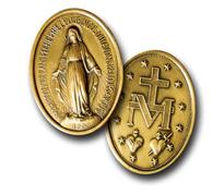 """""""Wundertätige Medaille"""" Relief der Mutter Gottes, Rückseite Symbol Kreuz, M und 2 Herzen und von 12 Sternen umrahmt"""