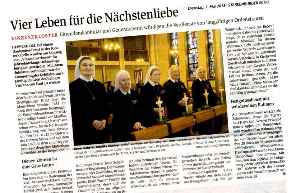 Zeitungsausschnitt Jubiläumsfeier mit Bilder der Schwestern