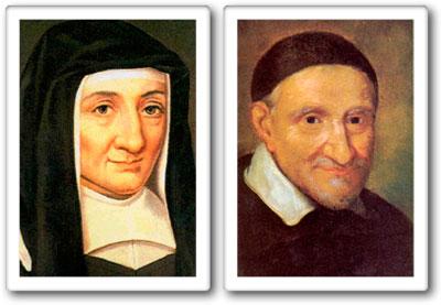 Zwei Gemälde von den Ordensgründern Luise von Marillac und Vinzenz von Paul