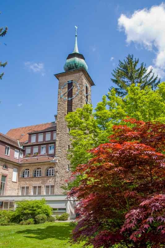 Gartenansicht des Klosterturms bei blauen Himmel und Sonnenschein