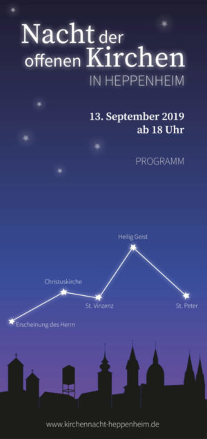 Flyer zur Nacht der Kirchen am 13.September 2019 in Heppenheim. Die Silhoutten der Kirchen die zu Veranstaltungen laden sind zu sehen.