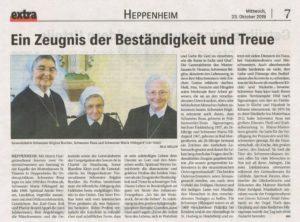 Bericht aus der Anzeigen-Zeitung 'Extra' zum Jubiläum von Schwester Rosa und Schwester Maria Hildegard im Bild mit Schwester Brigitta. Der Artikel erschien am 23.Oktober 2019 (Mittwoch)